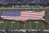 USA flag on football field